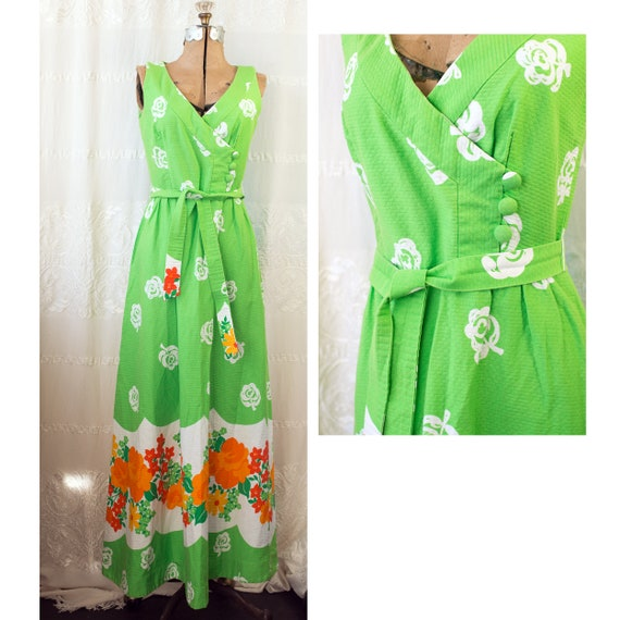 1960's or 70's Hawaiian Cotton Floral Maxi Dress w