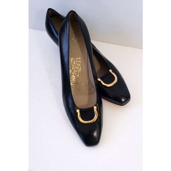 1970's Salvatore Ferragamo Black Pumps with Brass