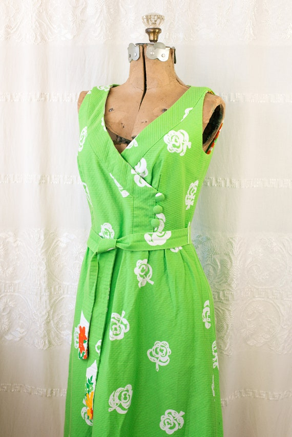 1960's or 70's Hawaiian Cotton Floral Maxi Dress … - image 5