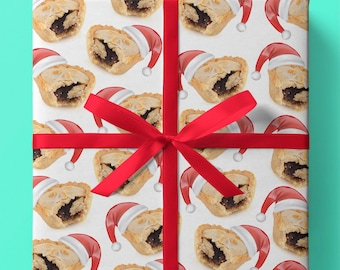Christmas Mince Pies Wrapping Paper - Pack of 3 or 5 sheets - Mince Pies with Christmas Hats - Christmas Desserts - Desserts - Gift Wrap