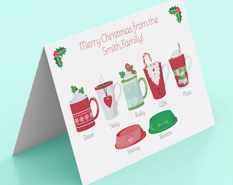 Personalised Family Drinks Christmas Cards -Pack of 5 -Family/Mum/Dad/Child/Children/Dog/Cat-Hot Chocolate-Merry/Happy Christmas Drinks