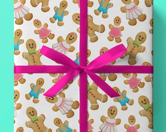 Christmas Gingerbread Family Wrapping Paper - Pack of 3 or 5 sheets - Gingerbread Man - Gingerbread Woman - Gingerbread Child - Gift Wrap