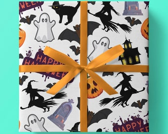 Creepy Halloween Wrapping Paper - Pack of 3 or 5 sheets - Ghosts, Witches, Pimpkins, Gravestones, Bats, Scary, Creepy, Spooky, Gift Wrap
