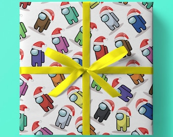Christmas 'Among Us' Inspired Wrapping Paper - Pack of 3 or 5 sheets - Gaming/Gamer Children/Child - Games Console - Imposter -- Crew Mate