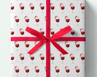 Red Wine Christmas Wrapping Paper - Red wine -Pack of 3 or 5 sheets - Presents - Gifts - Gift wrap - Drinks - Glass of wine