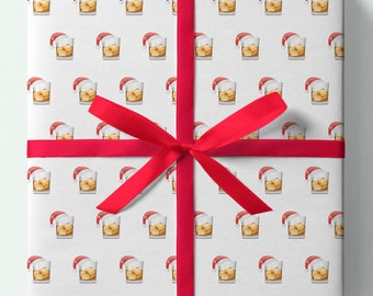 Whiskey Christmas Wrapping Paper - Whiskey - Pack of 3 or 5 sheets -Presents/Gifts - Christmas Gift wrap,Festive Drinks