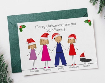 Personalised Family Christmas Cards - Pack of 5 - Mum Dad Child/Children Dog Cat -Christmas hats -Merry Christmas - Personalise Personalize