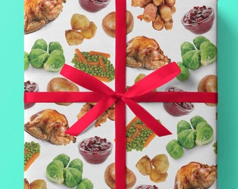 Christmas Roast Dinner Wrapping Paper - Pack of 6 or 10 sheets - Roast Turkey - Potatoes - Pigs in Blankets - Cranberry Sauce - Gift Wrap