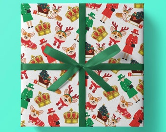 A Right Royal Christmas Do Wrapping Paper - Pack of 3 or 5 sheets - The Queen, Corgis, Crown, Royal, Her Majesty, Royal Family, Gift Wrap