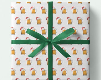 Beer Christmas Wrapping Paper - Pint of beer with Christmas Hat - Pack of 3 or 5 sheets -Presents/Gifts - Christmas Gift wrap,Festive Drinks
