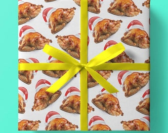 Christmas Roast Turkey Wrapping Paper - Pack of 3 or 5 sheets - Roast Turkey - Christmas Dinner -Christmas Gift Wrap -Unique Wrapping Paper