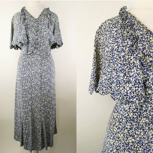 Justin Debenhams Vintage 70s maxi dress pale purple  ditsy print sleeveless jumior girl cotton dress tie belt ruffle bottom boho dressXS