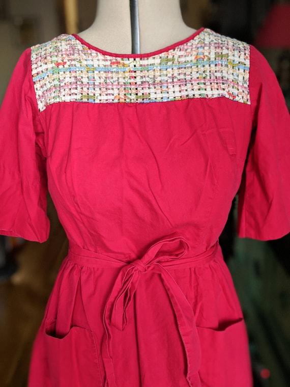 Vintage 1940s 1950s red Swirl cotton wrap dress la