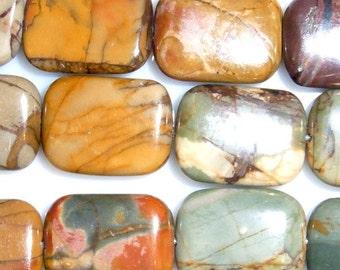 12X16mm Rectangle Picasso Jasper Beads Genuine Natural 15''L 38cm Loose Beads Semiprecious Gemstone Bead   Supply