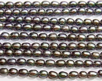 "7-8mm Rice Black Freshwater Pearl 15""L 38cm Loose Beads - Wholesale Jewelry Making Supply"