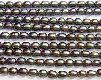 6-7mm Rice Black Freshwater Pearl 15 inches length, 38 cm -
