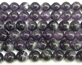 12mm Round Amethyst Beads Genuine Natural 4233  - 15''L 38cm Loose Beads Semiprecious Gemstone Bead   Supply