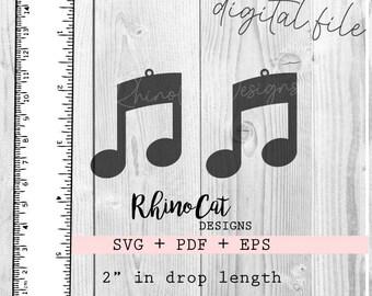 Digital File Wood Earring Laser Cut SVG  PDF File Music Symbol Earrings Bass Clef Earrings