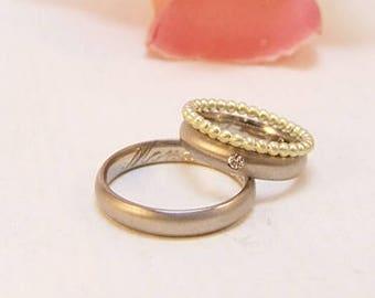 Wedding rings in 585/ palladium white gold