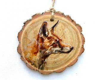 Red Fox Wood Tree Slice Wall Art