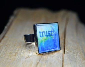 TRUST Ring adjustable Handmade Resin Ring Inspirational Jewelry Blue Ring Word Art Gifts