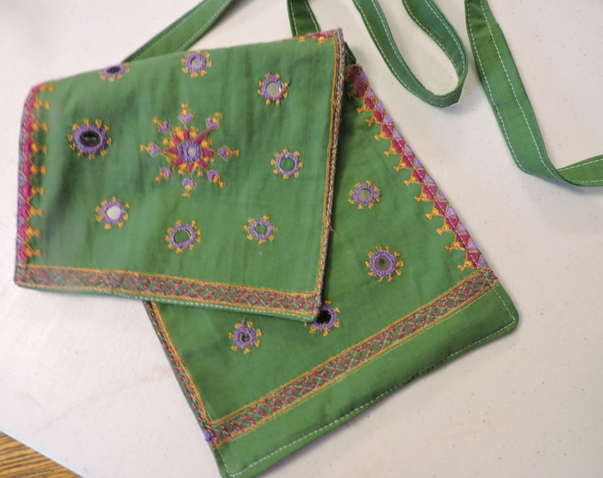 7x8 mirrored embellishments 48 strap Tote Purse GREEN Messenger Crossbody Bag Embroidery