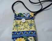 YELLOW BLUE FLOWERS Across the body hip bag, water bottle bag, iPhone bag, button loop closure, 48 quot strap, 6x4. quilted cotton