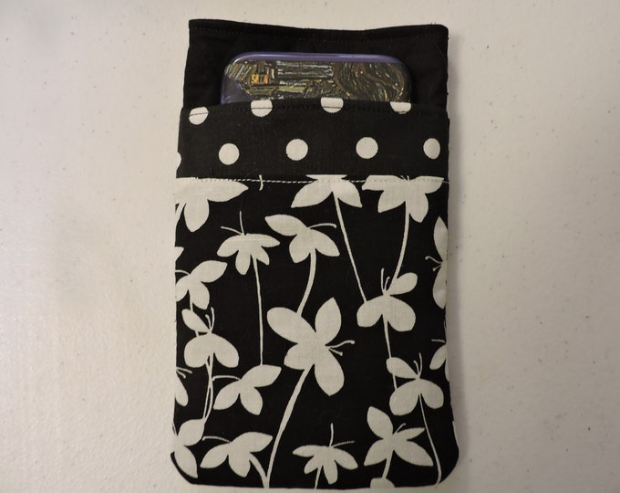 POLKADOTS iPhoneeyeglass case 7x4,quilted cotton Black and White BUTTERFLIES FLOWERS Double case