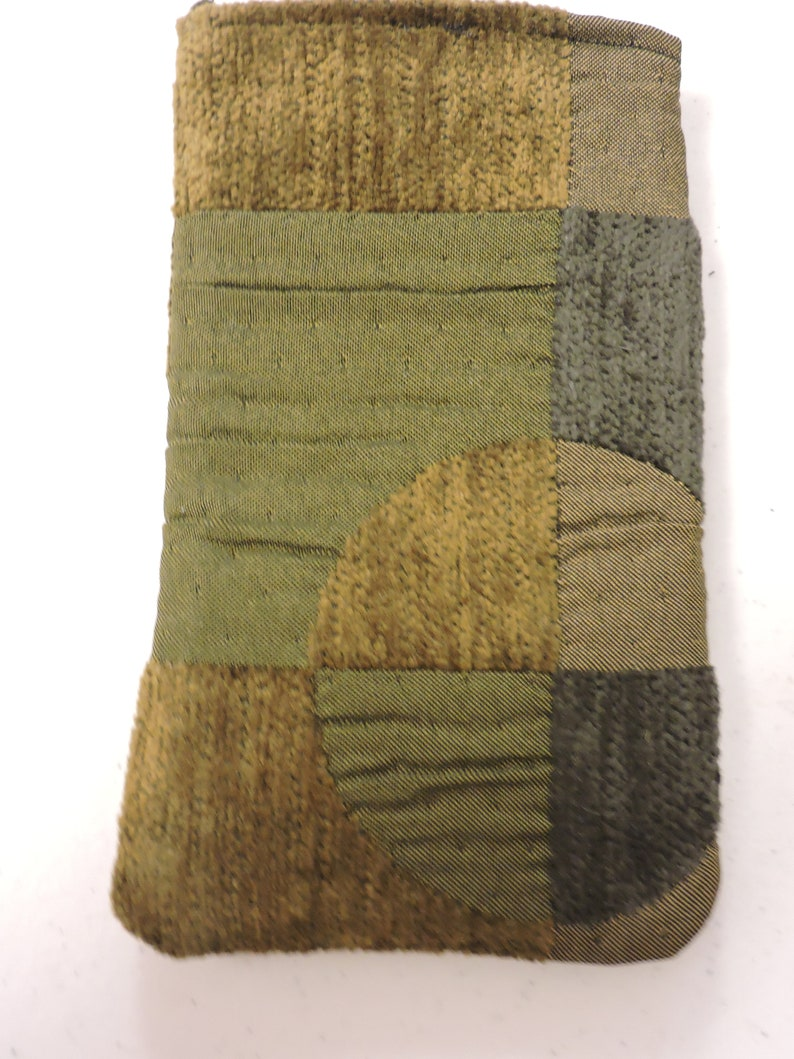 Upholstery fabric 8x4,quilted cotton Double case iPhoneeyeglass case OLIVE Geometric Pattern
