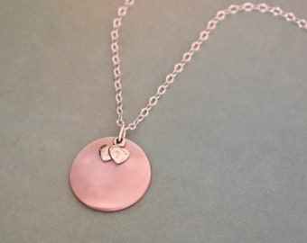 Pink Mother Of Pearl Gemstone Pendant Necklace With 1 mm Box Chain