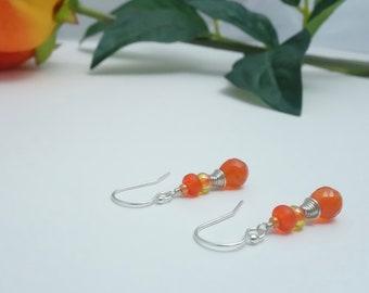 Orange Carnelian Gemstone Handmade Earrings