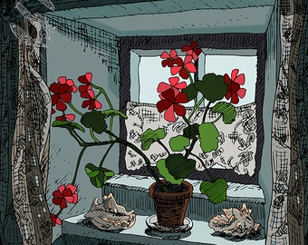 Geraniums, DOWNLOAD, Orkney, flower print, gift for an art lover, flower illustration, sunny window, digital illustration