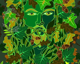 Green Man with acorns, Beltane, Pagan, foliate face, oak leaves and acorns, Illustration, Art print, New home gift, Ivy, folktale, fantasy