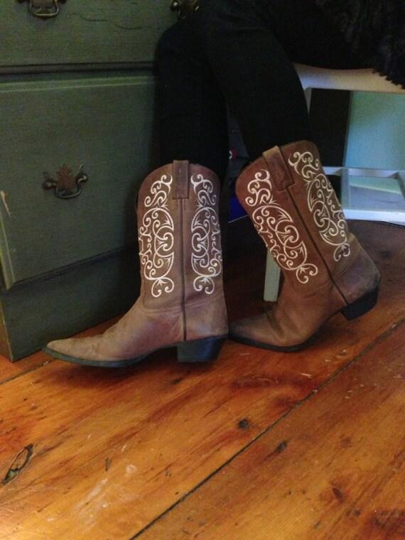 Tony Lama Embroidered Cowboy Boots