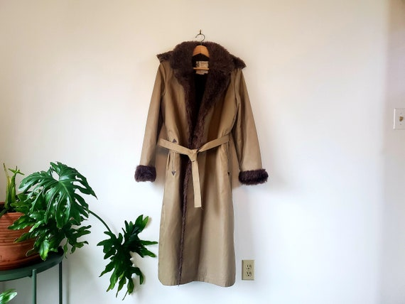 Vintage London Fog Faux Fur Lined Trench Coat