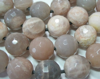 Large 2mm Hole Gray /& Peach Moonstone 14mm Faceted Round Beads 7 Strand