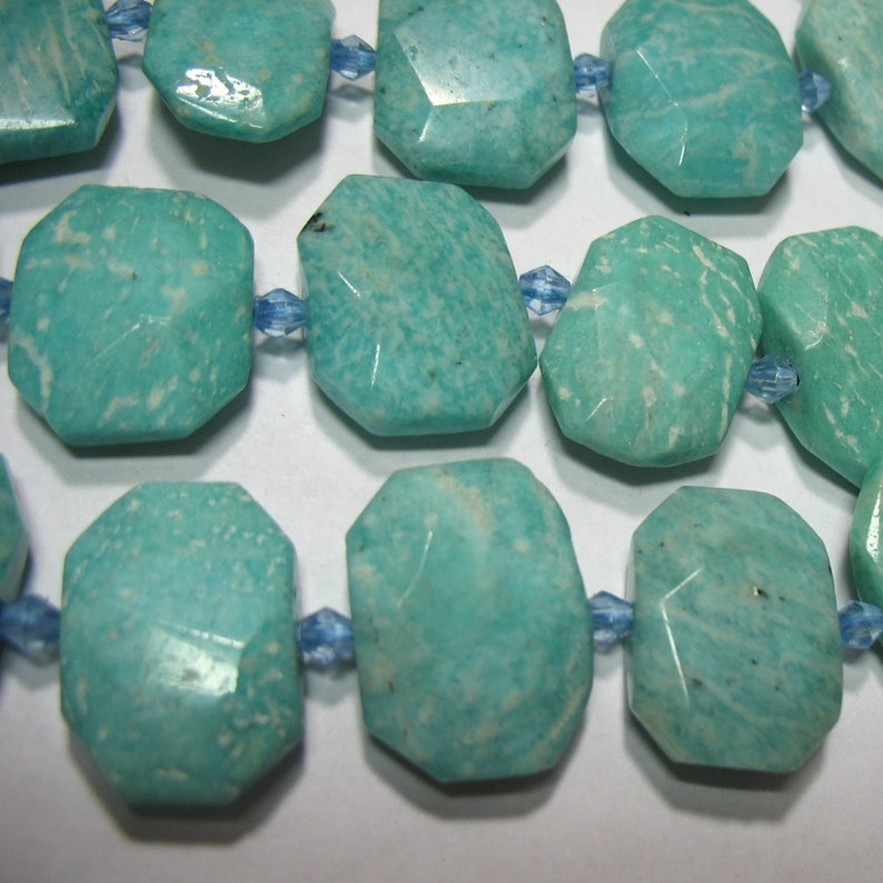 Russian Amazonite Center Drill Cushion Amazonite 15x22mm Faceted Rectangle Beads
