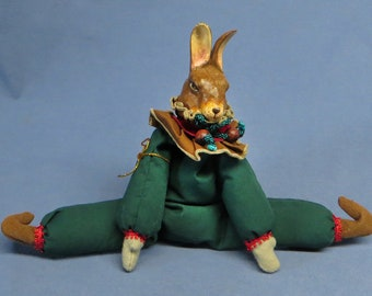 Rare Vintage Katherines Collection Rabbit Jester Christmas Doll VGC.