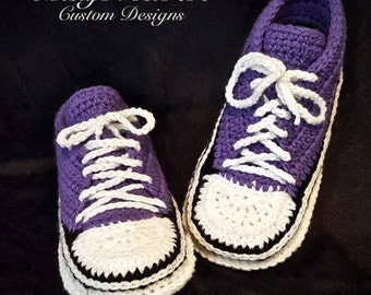 73ff569ba3c7 PDF FILE Crochet Pattern for Womens Adult Converse Inspired Slippers