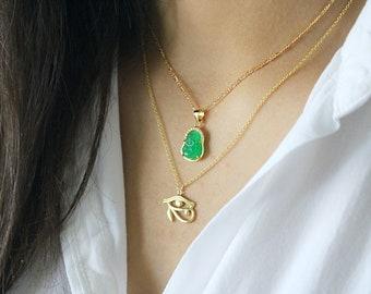 063c78a4b39e Jade buddha necklace charm necklace  gold charm jewelry religious necklace jade  necklace buddha necklace layering necklace jade jewelry
