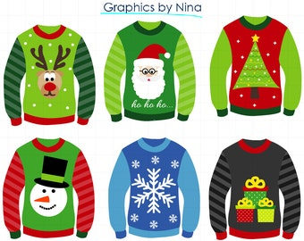 INSTANT DOWLOAD  Christmas Ugly Sweater Clipart Scrapbook for Personal and Commercial Use
