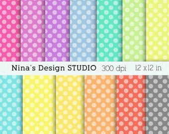 50% SALE INSTANT DOWNLOAD 12 polkadots digital papers for Personal and Commercial use