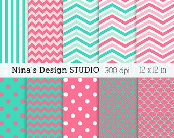 INSTANT DOWLOAD   Coral and Aqua  Digital Paper Packs Personal and Commercial Use