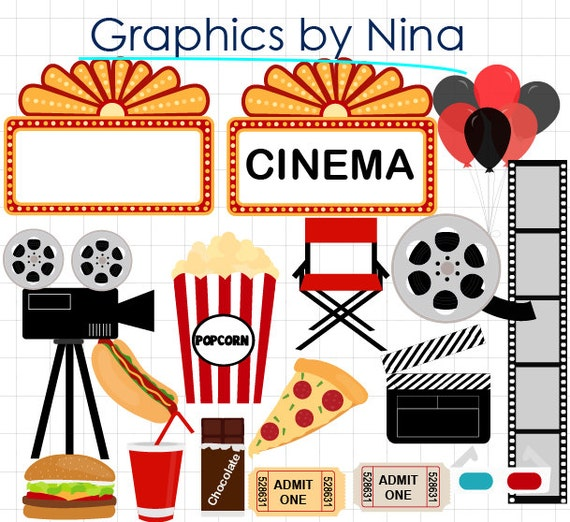 Cinema clipart  INSTANT DOWLOAD Movie Night clipart Cinema Clipart | Etsy
