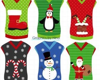 INSTANT DOWLOAD  Christmas Ugly Sweater Vests Clipart Scrapbook for Personal and Commercial Use