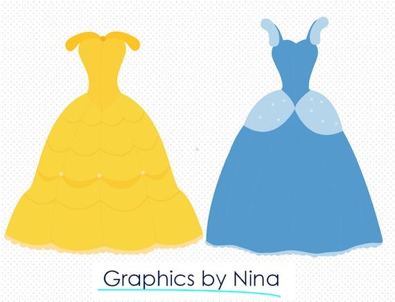 Instant Dowload Princess Dresses Candy Clipart Scrapbook