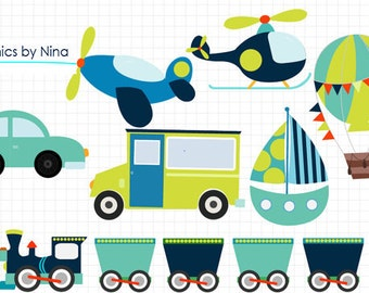 INSTANT DOWLOAD   Transportation Clipart Scrapbook for Personal and Commercial Use