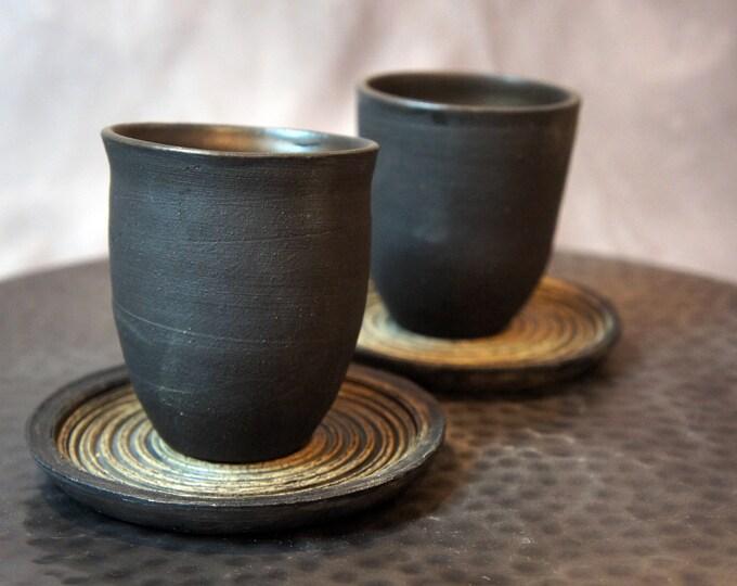 Featured listing image: Zen Garden Collection - Stoneware Tea Espresso Cup & Saucer