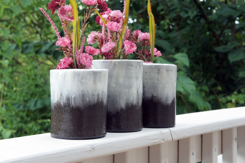 Stoneware Flower Vase White Black Gradient Ceramics Wheel