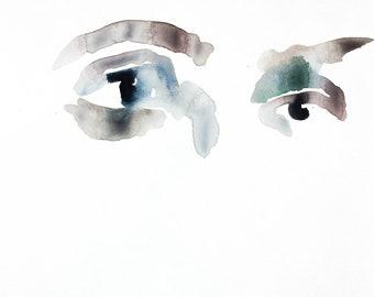 eye study no. 5 . original watercolor painting